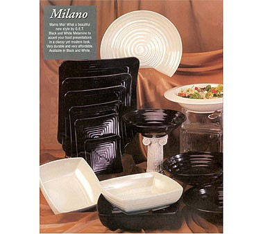 "G.E.T. Enterprises ML-11-BK Milano Black Melamine Rectangular Plate 12"" x 10"""