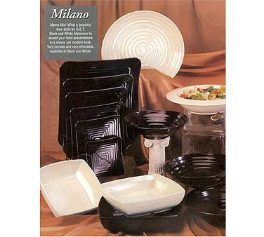 GET Milano Black Melamine Square Plate - 8-3/4