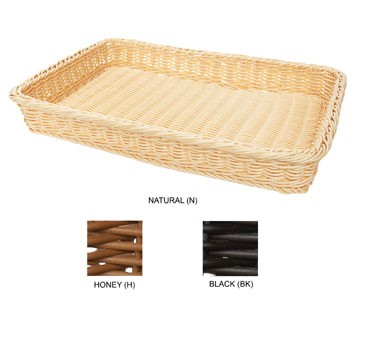 "G.E.T. Enterprises WB-1509-N Natural Designer Polyweave Rectangular Capri Basket 18"" x 12-3/4"""