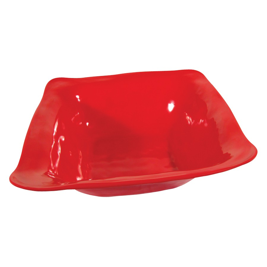 "G.E.T. Enterprises ML-131-R New Yorker 4.25 Qt. Melamine Red Square Bowl 13"" x 13"""