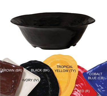 GET New Yorker 6.5 Quart Melamine Black Round Bowl - 16