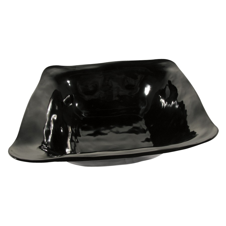 "G.E.T. Enterprises ML-132-BK New Yorker 6 Qt. Melamine Black Square Bowl 15"" x 15"""
