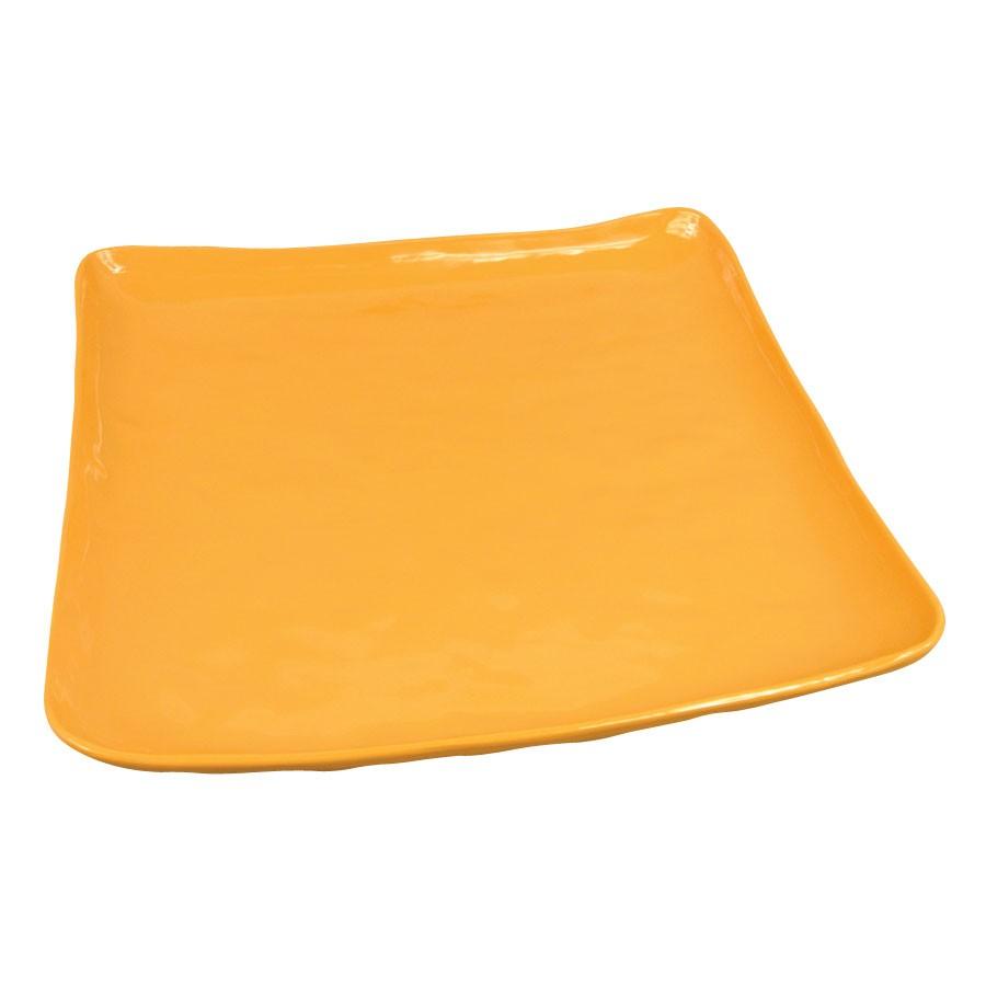 "G.E.T. Enterprises ML-147-TY New Yorker Melamine Tropical Yellow Square Plate 13-3/4"""