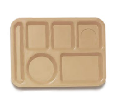 "G.E.T. Enterprises TL-153-T Polypropylene Tan 6-Compartment Food Tray 10"" x 14"""