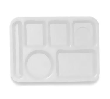 GET Polypropylene White 6-Section Food Tray - 10