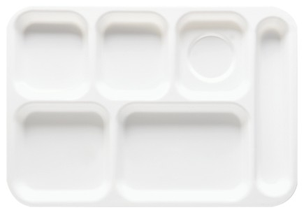 "G.E.T. Enterprises TR-153-W Polypropylene White 6-Compartment Right-Hand Tray 10"" x 14"""