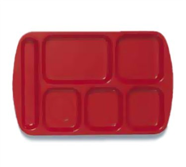 "G.E.T. Enterprises TL-151-R Red 6-Compartment Left-Hand Melamine School Tray 14-3/4"" x 9-1/2"""