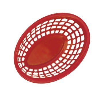 "G.E.T. Enterprises OB-734-R Red Bread and Bun Oval Basket 7-3/4"" x 5-1/2"""