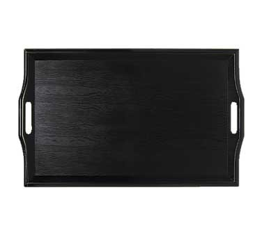 "G.E.T. Enterprises RST-2517-1-BK Black Plastic Room Service Tray 25"" x 16"""