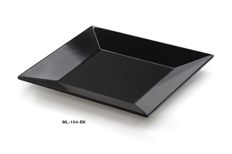 "G.E.T. Enterprises ML-104-BK Siciliano Black Melamine Square Plate 10"" x 10"""