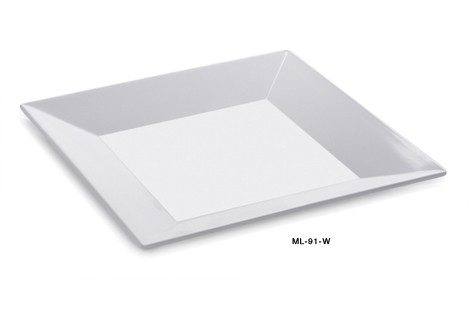 G.E.T. Enterprises ML-91-W Siciliano Melamine White Square Plate 14""