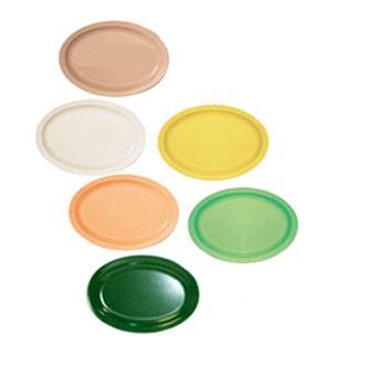 GET Supermel Green Melamine Oval Platter - 15-5/8