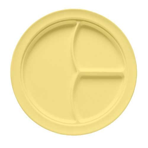 G.E.T. Enterprises CP-531-Y SuperMel Yellow 3-Compartment Plate 10""