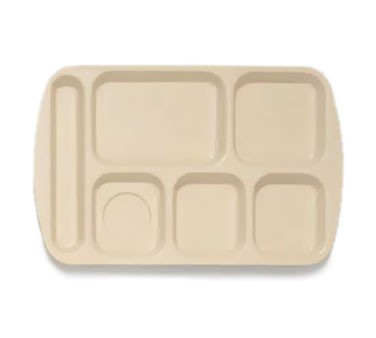 "G.E.T. Enterprises TL-151-T Tan 6-Compartment Left-Hand Melamine School Tray 14-3/4"" x 9-1/2"""