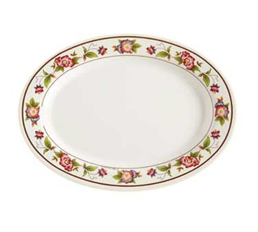 GET Tea Rose Melamine Oval Platter - 12-1/4