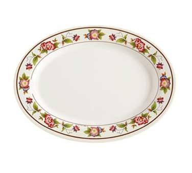 GET Tea Rose Melamine Oval Platter - 12-1/4