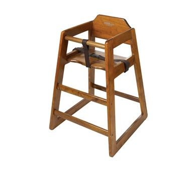 G.E.T. Enterprises HC-100W-P Walnut Finish Hardwood Palletized High Chair - Assembled
