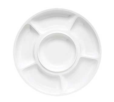 G.E.T. Enterprises APS-6-W Milano White Melamine 6-Compartment Appetizer Plate 14""