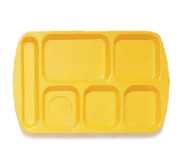 GET Yellow 6-Section Left-Hand Melamine Cafateria Tray - 14.75
