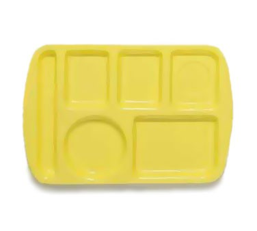 GET Yellow 6-Section Left-Hand Melamine School Tray - 14.75