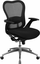 Galaxy Mid-Back Luxury Comfort Black Mesh Chair with Padded Mesh Seat and Chrome Base