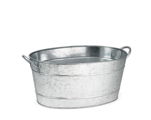 "TableCraft BT1914 Galvanized Aluminum Oval Beverage Tub 19"" x 14"" x 9"""