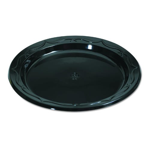 Gen-Pak Corp. Silhouette Black Plastic Plates, 6 Inches, Round, 125/Pack (Box of 1000)
