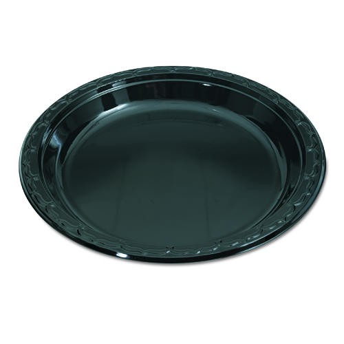 Genpak Silhouette Black Plastic Plates, 10 1/4 Inches, Round, 100/Pack (Box of 400)