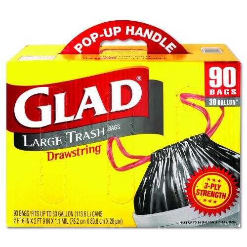 Glad Drawstring Outdoor Garbage Bag, 30 Gl, 1.1 Mil, Black
