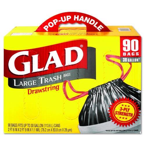 Glad Drawstring Outdoor Garbage Bag, 30 Gl, 1.1 Mil, Black