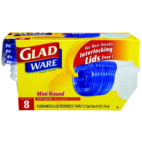 GladWare Mini-Round Food Container with Lid, 4 oz., Plastic, Clear, 12/8 Case