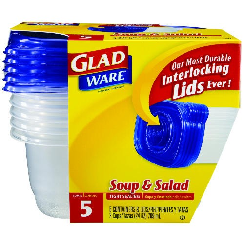 GladWare Soup and Salad Food Container w/Lid, 24 oz., Plastic, Clear, 6/5 Case