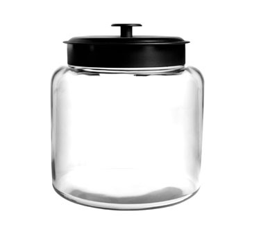 Anchor Hocking 88904AHG17 1.5 Gallon Montana Glass Jar with Black Metal Cover