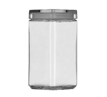 Glass 2 Quart Stackable Square Jar