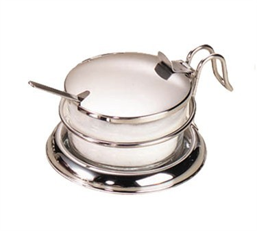 Glass 6 Oz. Condiment Jar Set With Stainless Steel Holder & Cover