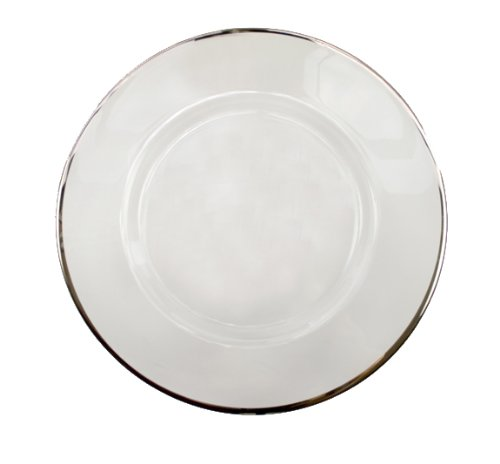 "Jay Companies 1970002 Platinum Rim Clear Glass Round 13"" Charger Plate"