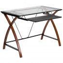 Flash Furniture NAN-JN-2824S-GG Glass Computer Desk with Pull-Out Keyboard, Criss-Cross Legs