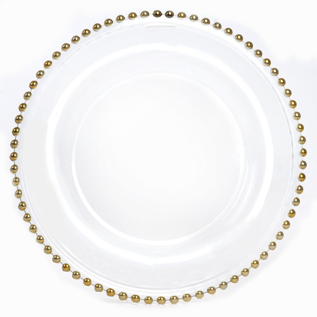 "Ya Ya Creations CHRG_4239_GOLD Glass Gold Beaded 13"" Charger Plate"