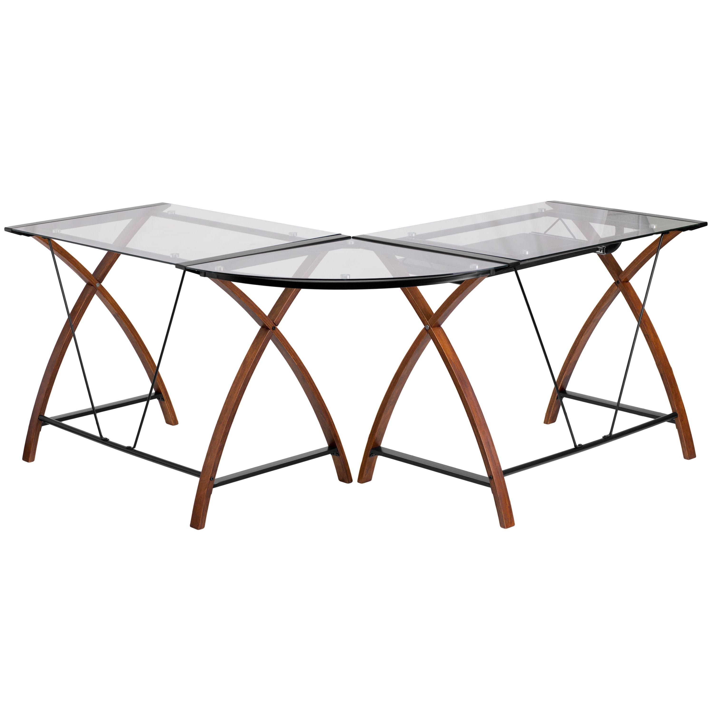 Flash Furniture NAN-JN-2824SL-COMBO-GG Glass L-Shape Desk with Pull-Out Keyboard