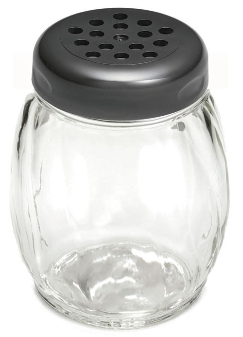 TableCraft 260BK Swirl Glass Shaker 6 oz. with Black Perforated Plastic Top