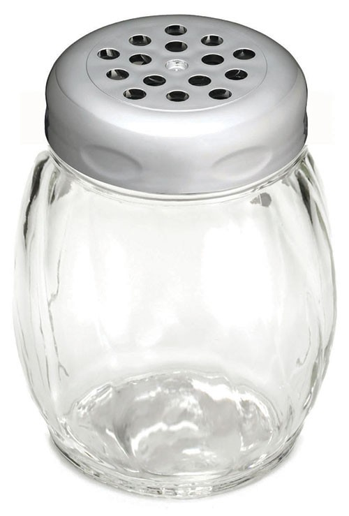 TableCraft 260CH Swirl Glass Shaker 6 oz. with Chrome Perforated Plastic Top