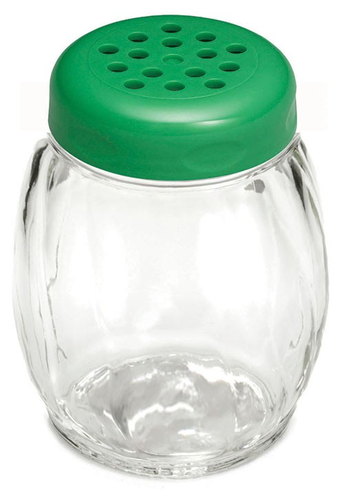 TableCraft 260GR Swirl Glass Shaker 6 oz. with Green Perforated Plastic Top