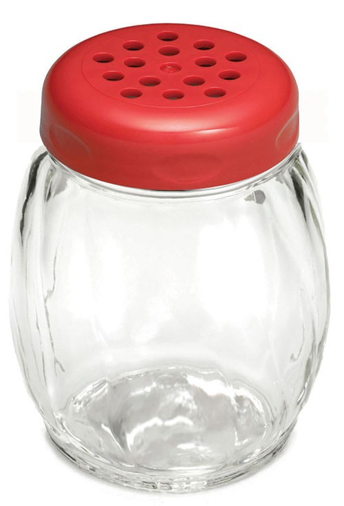 TableCraft 260RE Swirl Glass Shaker 6 oz. with Red Perforated Plastic Top