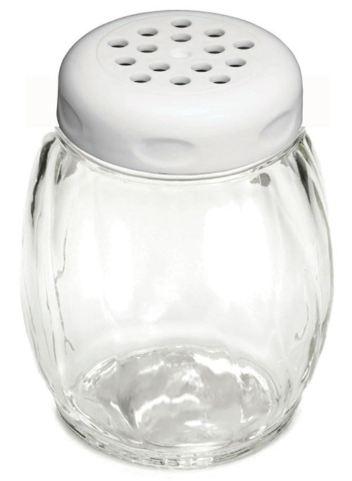 TableCraft 260WH Swirl Glass Shaker 6 oz. with White Perforated Plastic Top