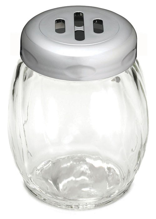 TableCraft 260SLCH Swirl Glass Shaker 6 oz. with Chrome Slotted Plastic Top