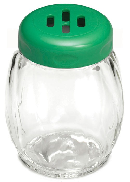 TableCraft 260SLGR Swirl Glass Shaker 6 oz. with Green Slotted Plastic Top