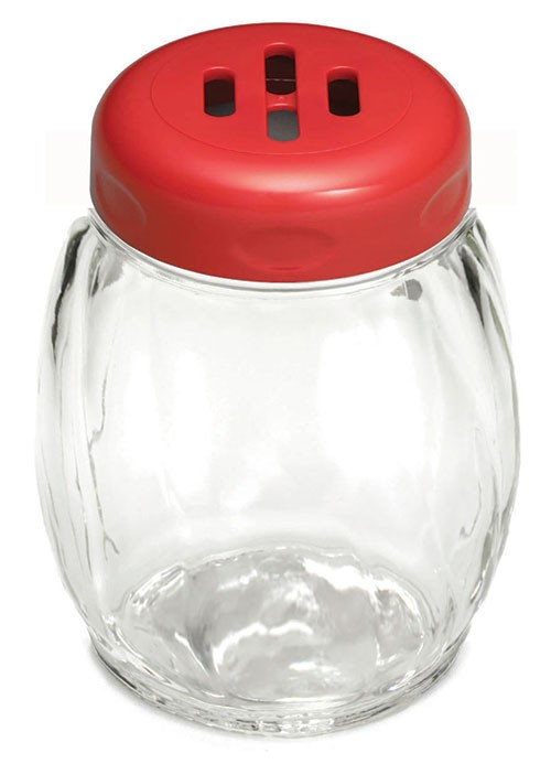 TableCraft 260SLRE Swirl Glass Shaker 6 oz. with Red Slotted Plastic Top