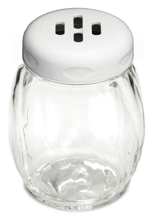 Glass Shaker with Slotted Plastic Top, 6 Oz