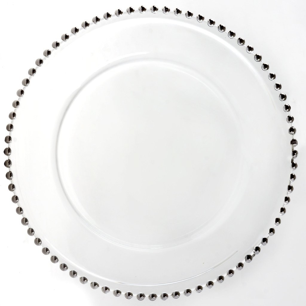 "Ya Ya Creations CHRG_4239_SILV Glass Silver Beaded 13"" Charger Plate"