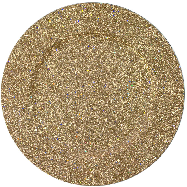 "Jay Import 1180018 Glitter & Stars Gold 12.75"" Round Charger Plate"